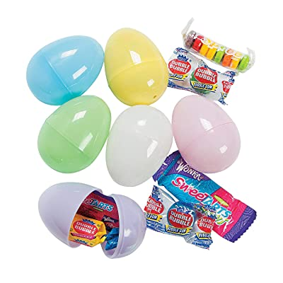 Candy Filled Easter Eggs (bulk set of 24 pastel eggs) Easter Hunt Party Supplies: Toys & Games
