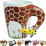 3D Coffee Mug Funny Animal Porcelain 13.5 Oz Tea Cup. Hi, I am a giraffe with long neck and legs Suitable for Christmas prese