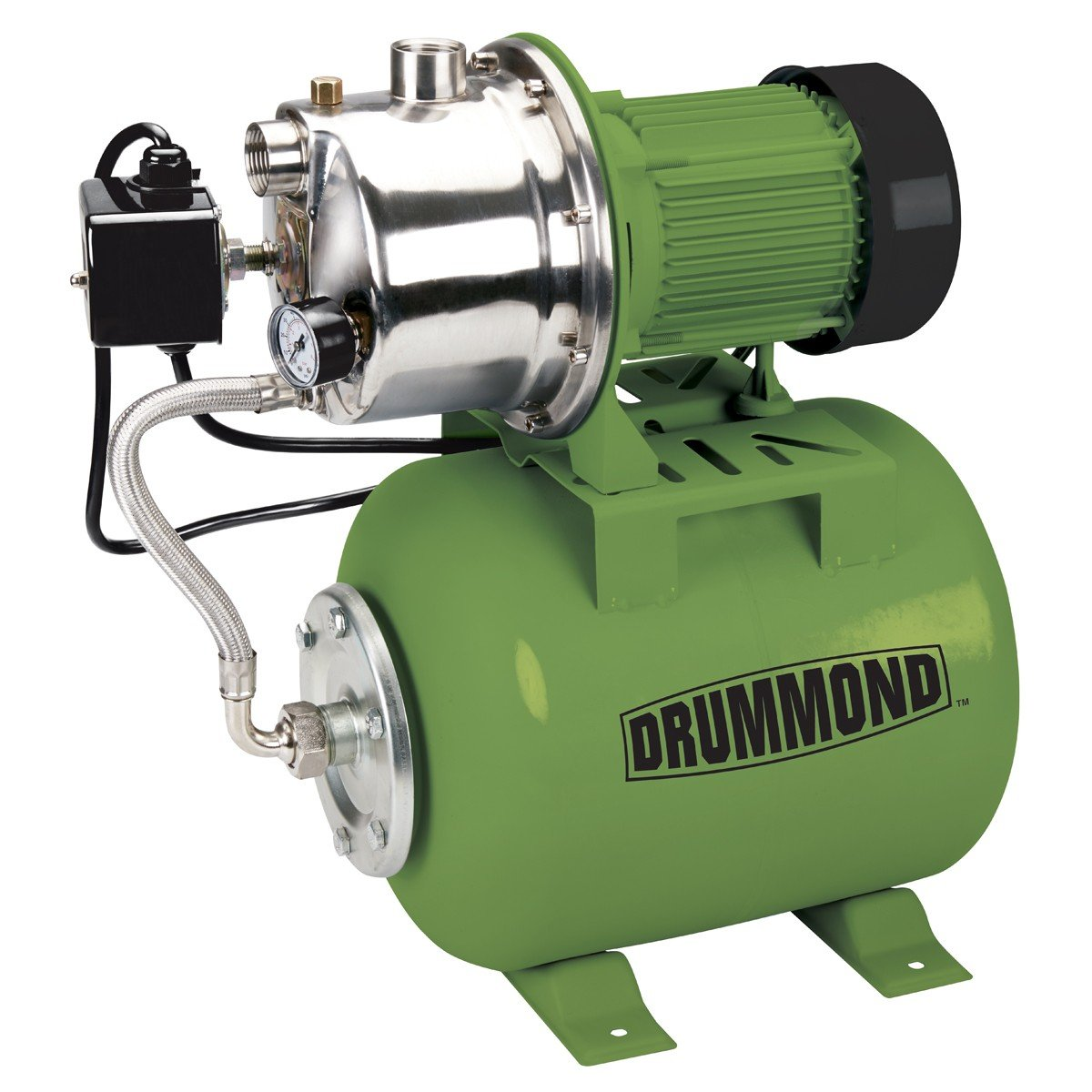 1 HP Stainless Steel Shallow Well Pump and Tank with Pressure Control Switch - 950 GPH by Drummond