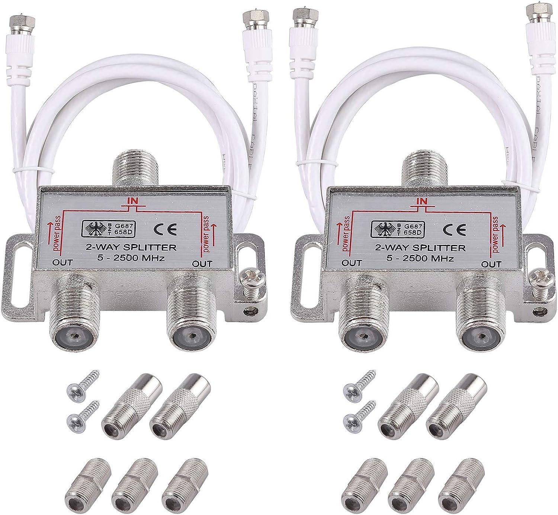 Neoteck 2 Pack 2-Way Coax Cable Splitter MoCA 5-2500MHz, Coaxial Splitter