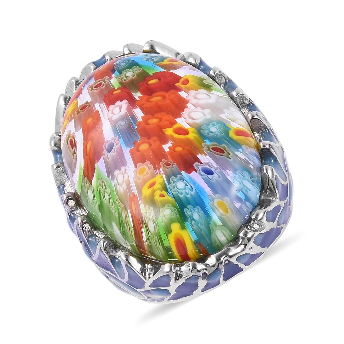 Stainless Steel Oval Glass Fashion Ring For Women Size 7
