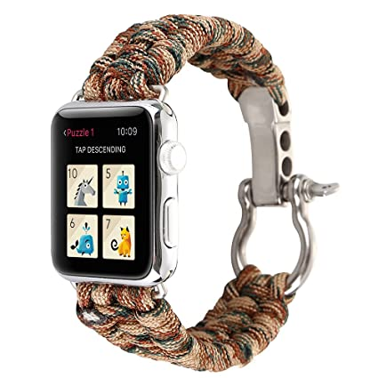 Watch Band for iWatch, MoreToys Nylon Rope Replacement Strap Wristband for Apple Watch Series 3, Series 2, Series 1 (42MM, A)