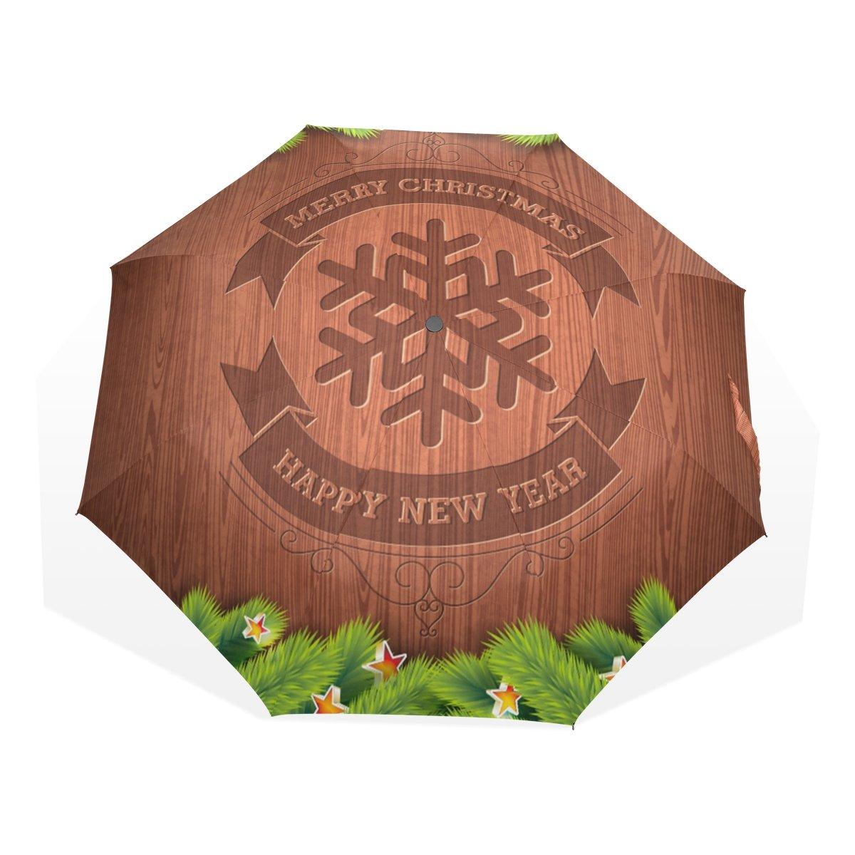 leisisi Merry Christmas Personalizedファッション傘防風折りたたみトラベルコンパクト傘 B078C7TWPRXHS-05