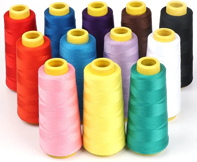 ilauke 12 x 1500 m overlock cono de hilo de coser varios colores Patio carretes 100% poliéster para Serger Quilting tapicería abalorios (un juego de cortinas: Amazon ...