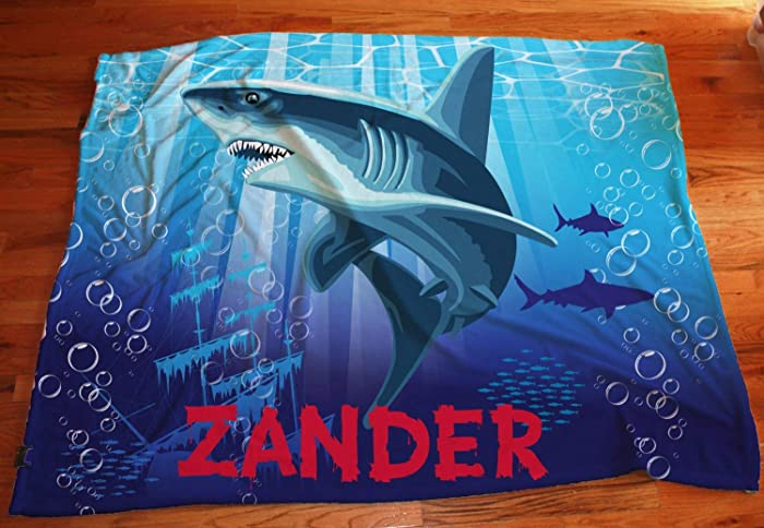 da947522b6 Image Unavailable. Image not available for. Color  Personalized Shark  Blanket ...