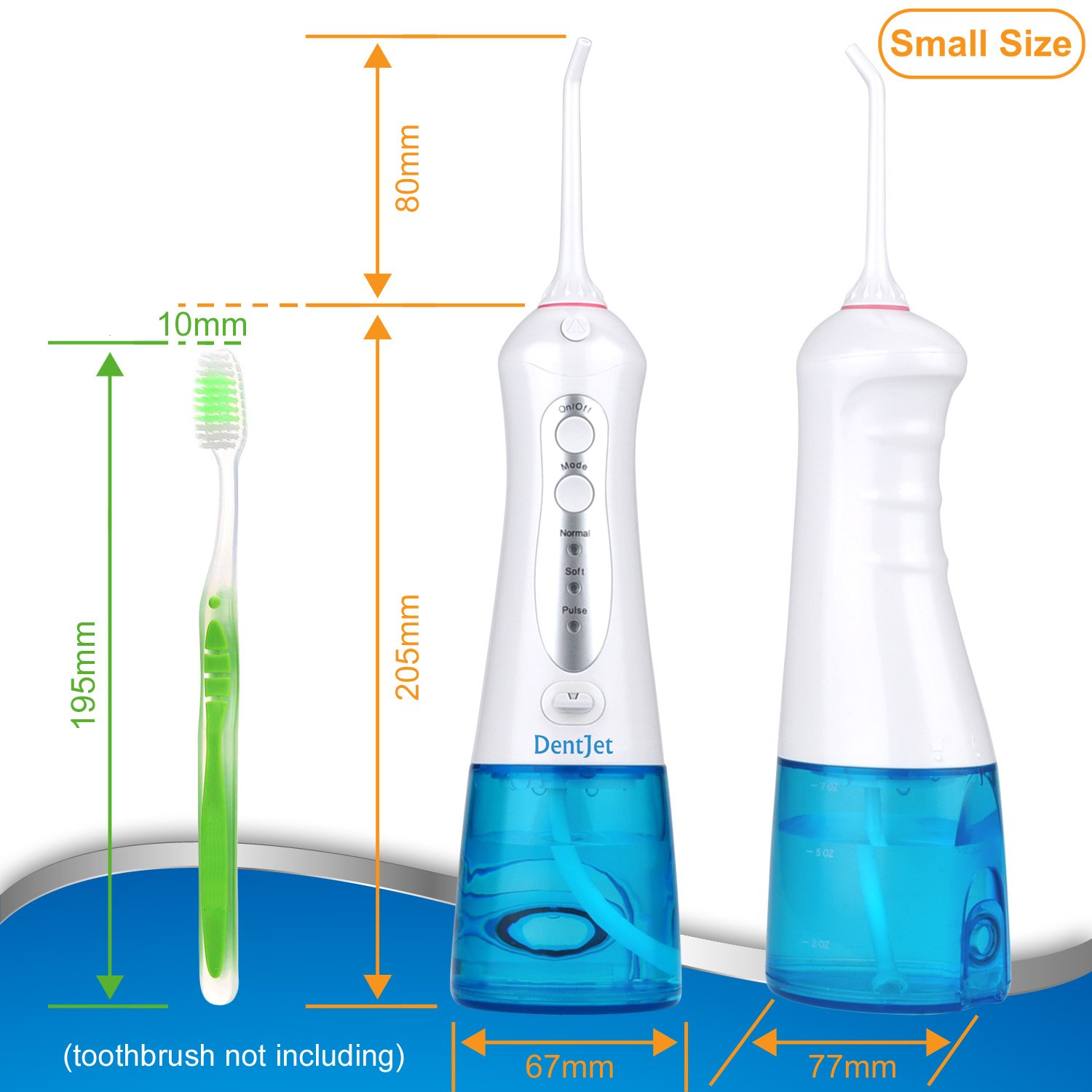 Oral Irrigator Cordless Water Flosser Rechargeable, DentJet 200ml Waterproof Water Pick for Teeth Portable Teeth Cleaning Kit with 3 Modes for Travel and Household (DJ-159 New Design)