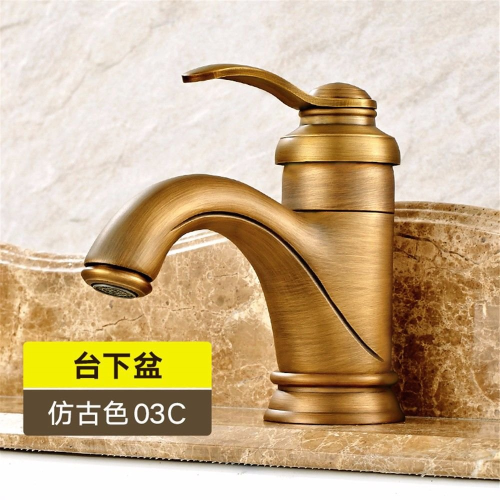 Lalaky Taps Faucet Kitchen Mixer Sink Waterfall Bathroom Mixer Basin Mixer Tap for Kitchen Bathroom and Washroom Black All Copper Antique Hot and Cold Vintage