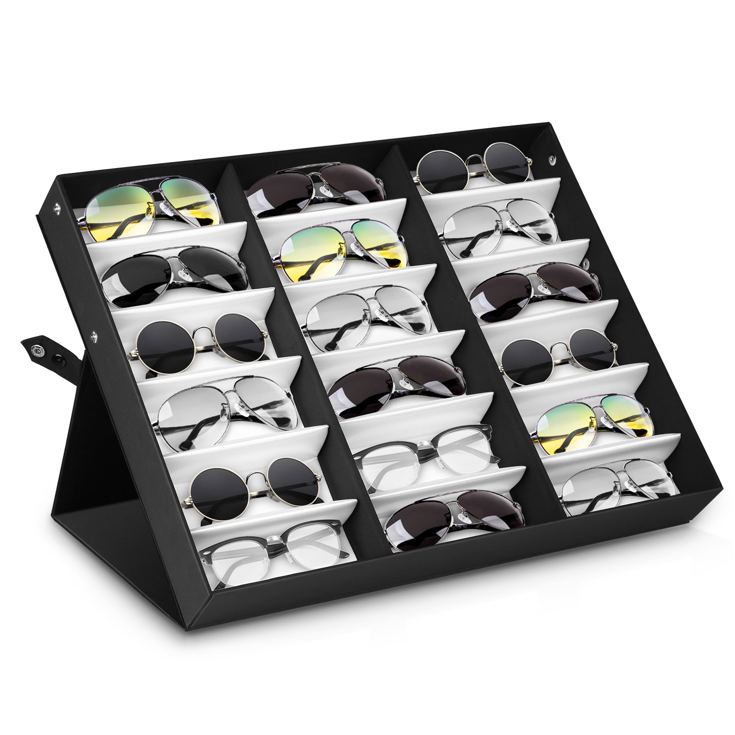 Amzdeal Sunglasses Display Case 18 Slot Sunglass Eyewear Display Storage Case Tray Gift for Him Her