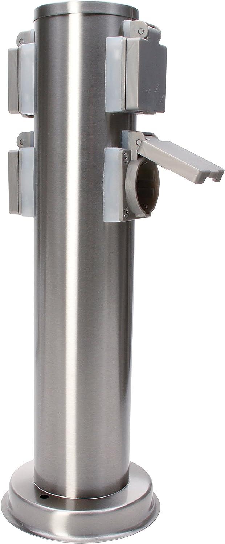 Gris 1/Pieza Kopp Energ/ía Columna V2/A con 4/enchufes protecci/ón de Contacto Redondo Acero Inoxidable 145318017