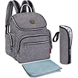 BIG SALE -- S-ZONE Multi-function Baby Diaper Bag Backpack with Changing Pad and Portable Insulated Pocket (Grey)
