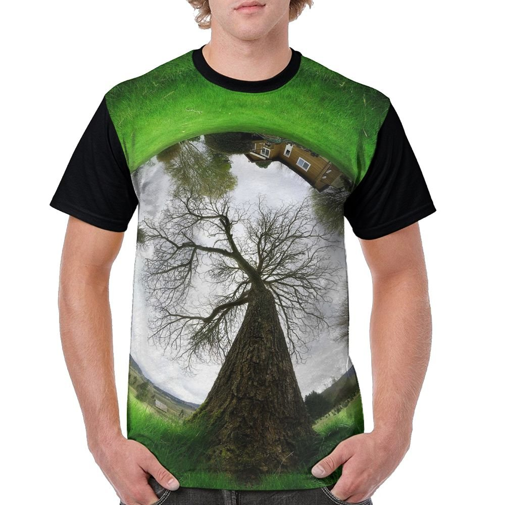 Nature Trees Men's Raglan Short Sleeve Tops T-Shirt Casual Undershirts Baseball Tees by CKS DA WUQ