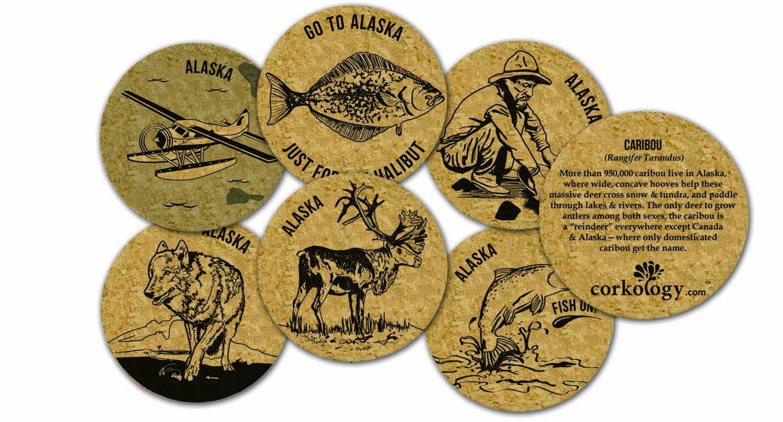 Corkology Alaska Wolf Coaster Set, Cork