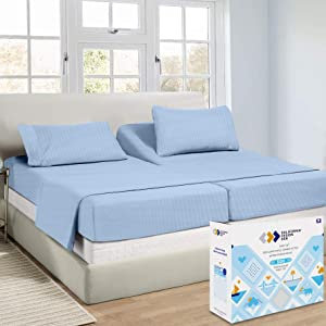 Split King Sheets for an Adjustable Bed - Sky Blue Color, 500 Thread Count 100% Real Cotton, Striped 5 Piece Set, Luxe Damask Sateen Weave, Elasticized Deep Pocket for Snug Fit