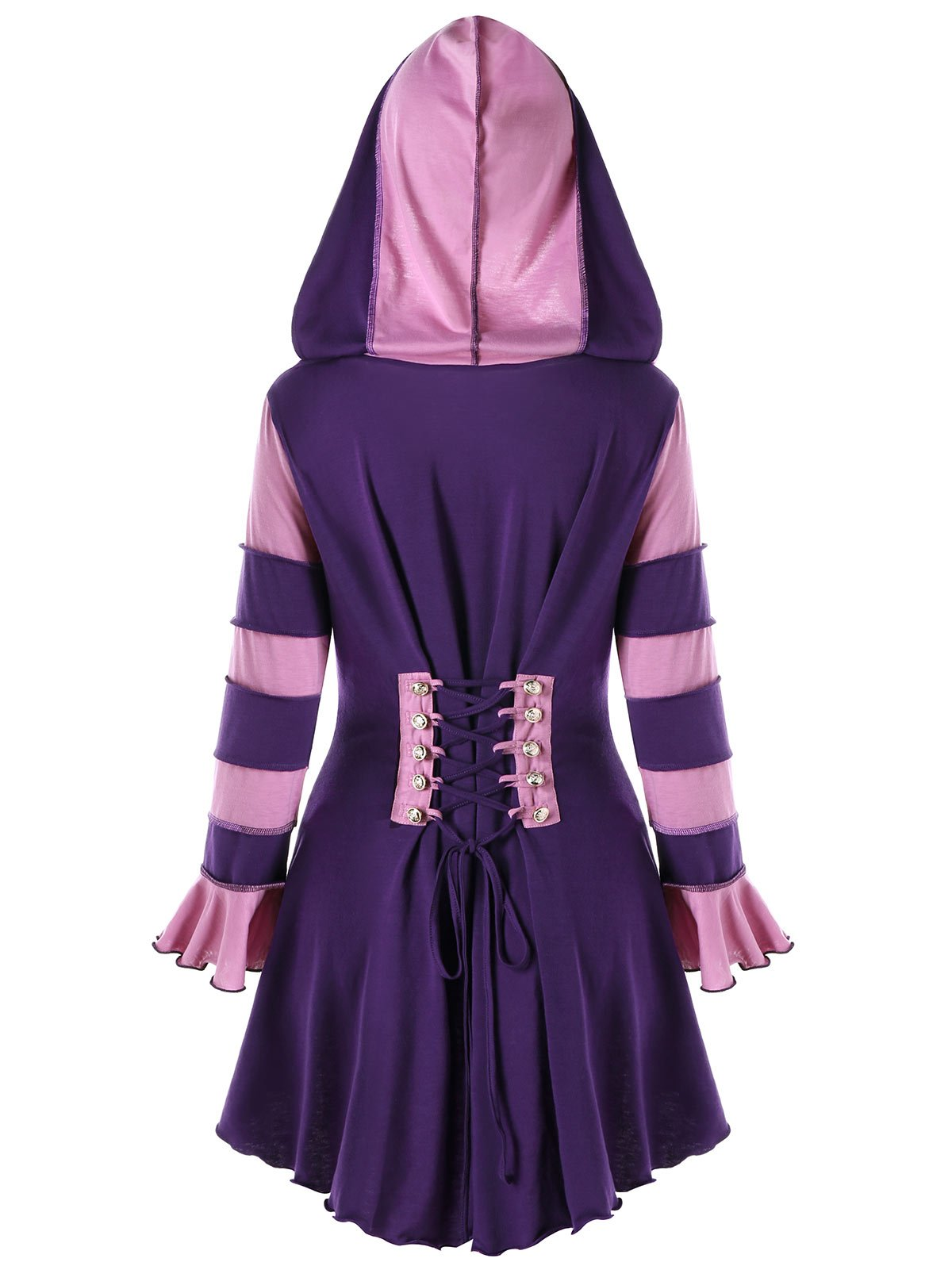 CharMma Women's Hooded Lace Up Double Breasted High Low Corset Jacket Coat (Purple, 2XL)