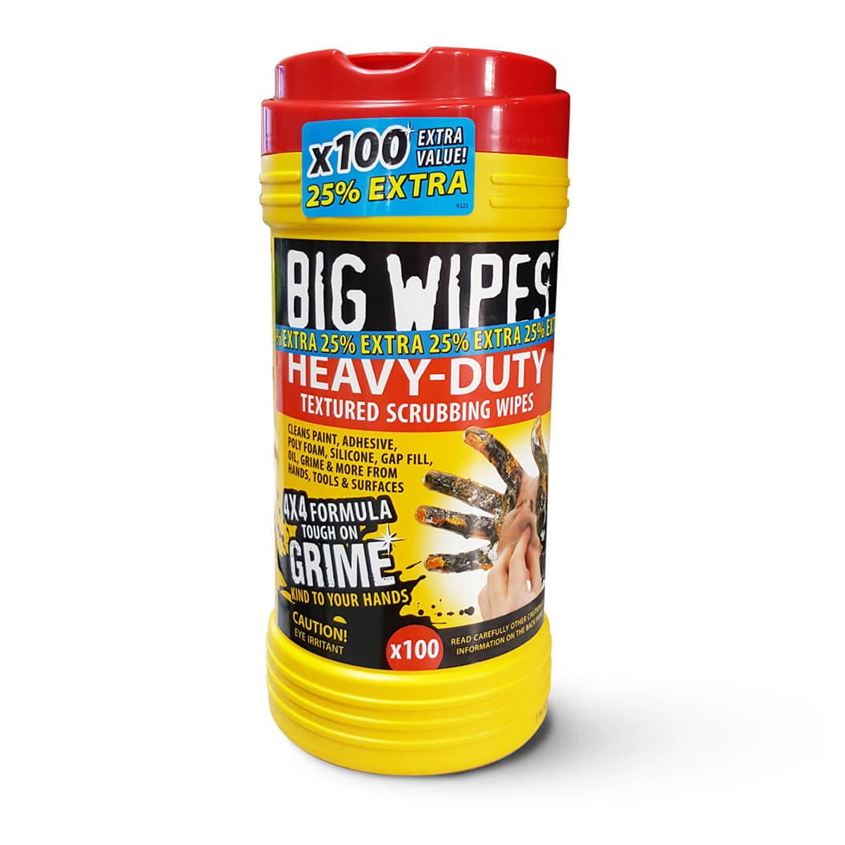 Big Wipes 60020057 Heavy-Duty Industrial Textured Scrub and Clean Wipes, 100 Count per Tube