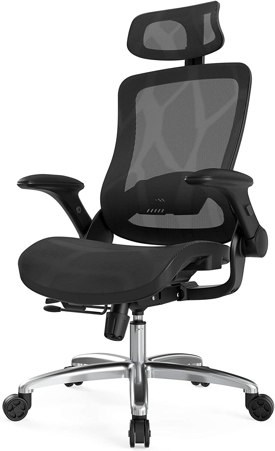 Hbada Ergonomice Office Chair, High-Back Mesh Desk Chair, Height Adjustable Executive Chair with Flip-Up Padded Armrest, Breathable Task Chair with Adjustable Headrest and Lumbar Support, Black.