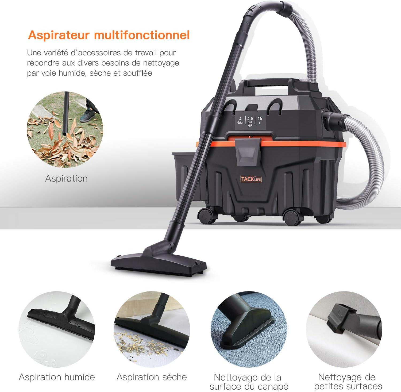 Tacklife - Aspirador de agua y polvo (1200 W, función húmeda ...