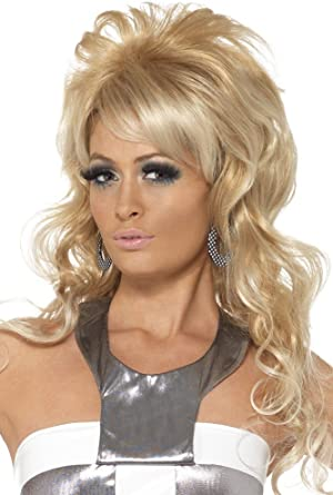 Blonde Bouffant 60/'s Flip Wig with Bangs