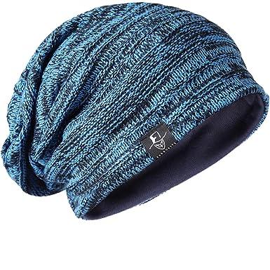 e25475c914c Stylish Unisex Slouchy Crease Knit Beanie Long Hat (Bright Blue ...