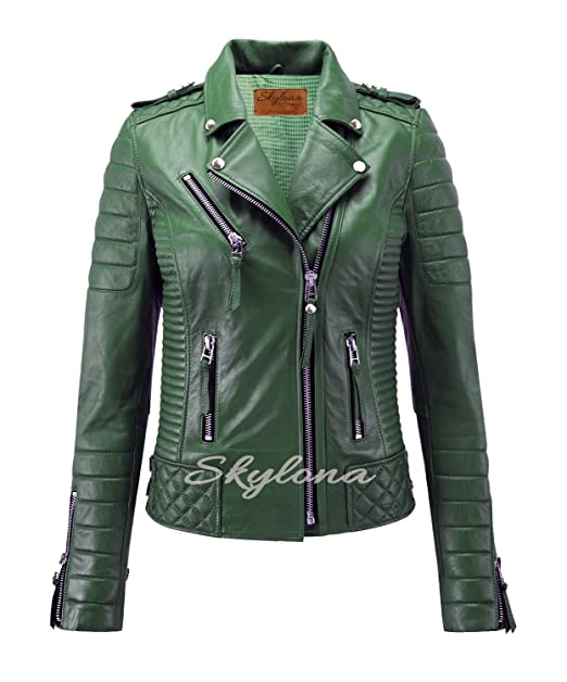 Skylona Womens Leather Jackets Motorcycle Bomber Biker Real Leather