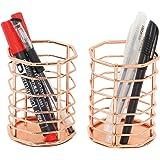 PAG Rose Gold Pencil Holder Metal Office Supplies Desk Organizer Makeup Brush Holder, Set of 2