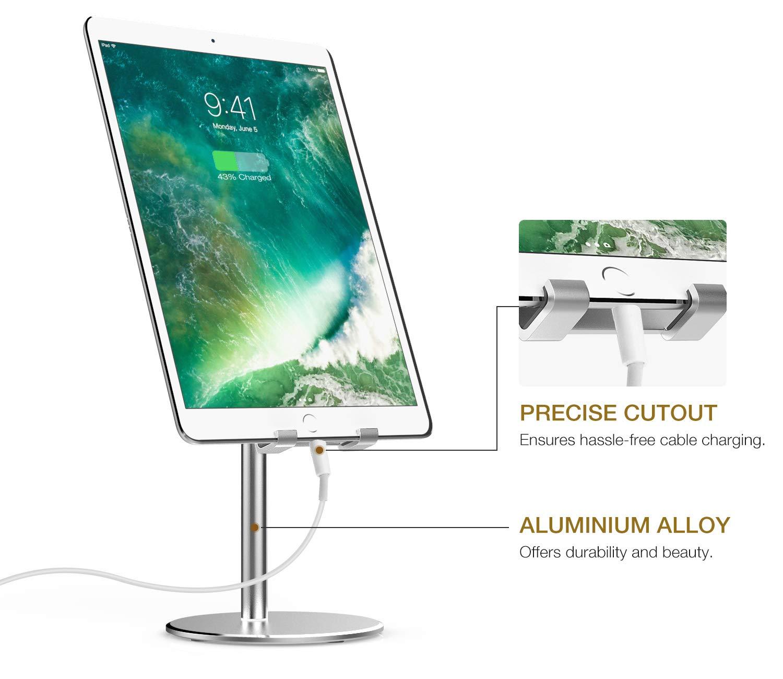 iPhone XS//XS MAX//XR//X Silver Galaxy S9 Adjustable Aluminum Desktop Holder Compatible with New iPad Air 3rd Gen iPad iPad Mini 5th Gen Samsung MoKo Cellphone//Tablet Stand