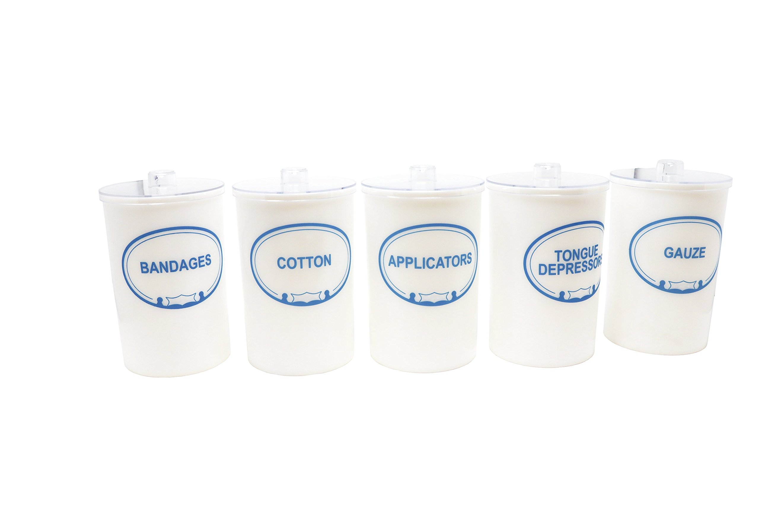 Pivit Labeled Apothecary Sundry Jars With Lid | 7''H X 4.25''D | Set of 5 | Bandages, Applicators, Gauze, Cotton, and Tongue Depressors Imprinted | Removable Top Cover | Unbreakable Opaque Polystyrene
