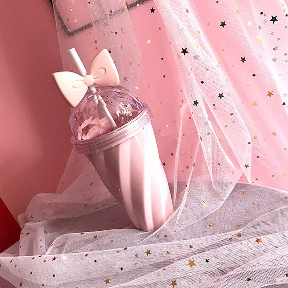 YunYoud 400ML Tazza di Paglia Carina Tazza Fredda Bevanda plastica con Coperchio di Prua Tazza di Paglia Bottiglia di plastica Tazza sigillata Tazza di Paglia Arco Tazza ritorta (Rosa) Prezzi