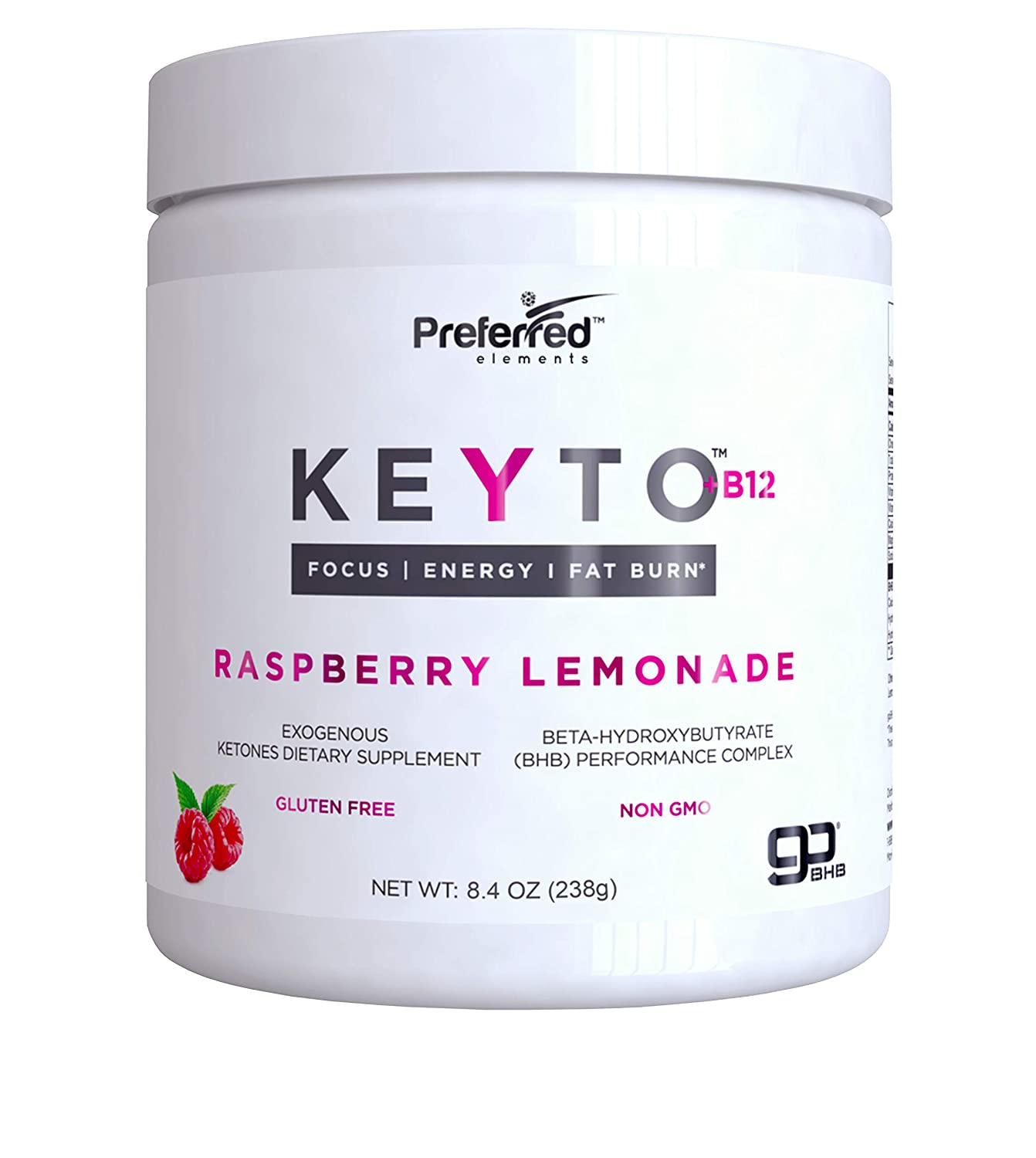 Keto BHB Salts Exogenous Ketones – Beta-Hydroxybutyrate Supplement Powder Vitamin B12 for Mental Clarity, Energy and Fat Burn – Raspberry Lemonade KEYTO by Preferred Elements