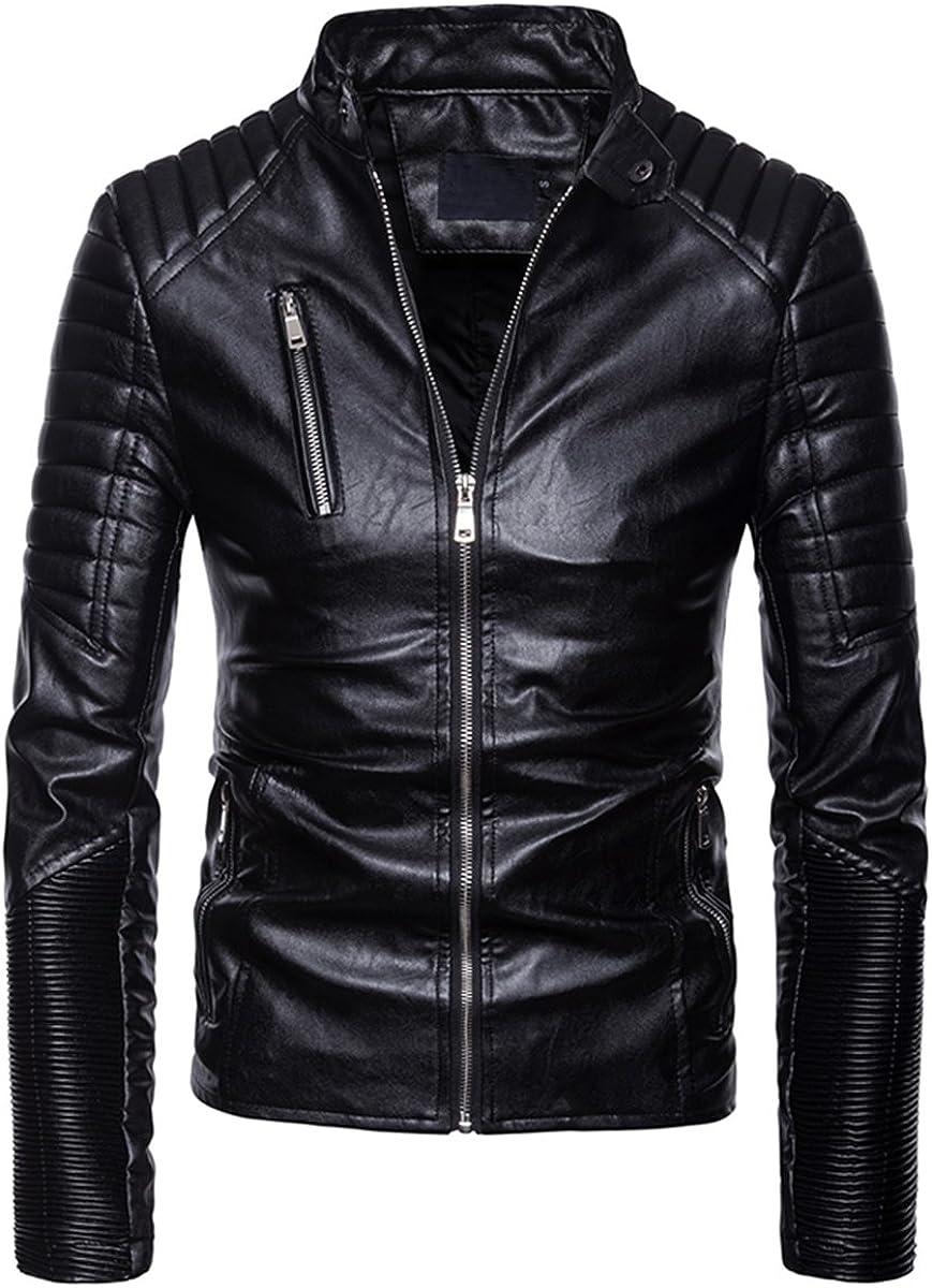 AOWOFS Mens Faux Leather Jacket Multi-Zipper Punk Motorcycle Slim Fit Coat