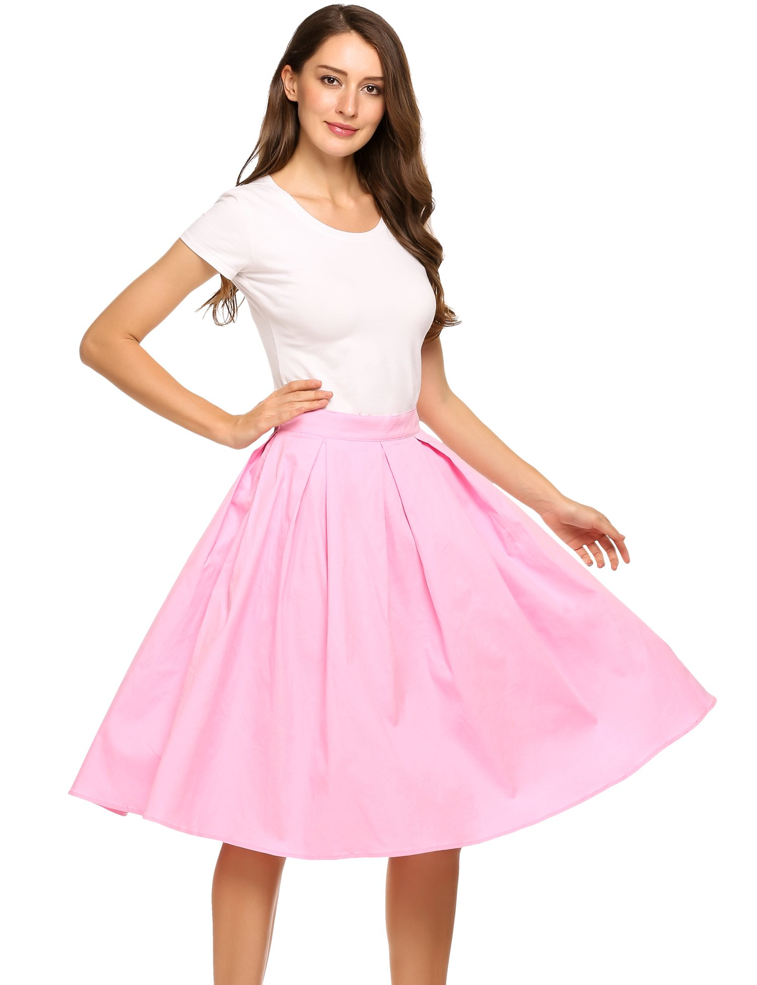 Zeagoo Women's Vintage High Waist A-line Pleated Midi Swing Skirts Knee Length with Pockets (M, Pink A)