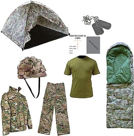 Kids Pack S Pop Up tienda de campaña, saco de dormir y outfit- MTP con libre Contacto izquierda niños ejército/militar ID tarjeta.: Amazon.es: Deportes y aire libre