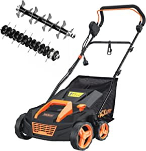 TACKLIFE Scarifier and Lawn Dethatcher, 15-Inch 13 Amp Electric Scarifier&Dethatcher w/ 45L Collection Bag, 5-Position Raking Depth, Easy Storage-KALD13A
