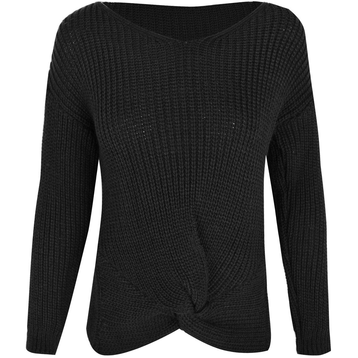 Fashion Thirsty Womens Knitted Twist Knot Jumper Long Sleeve V Neck Top US Size 4-12 Black