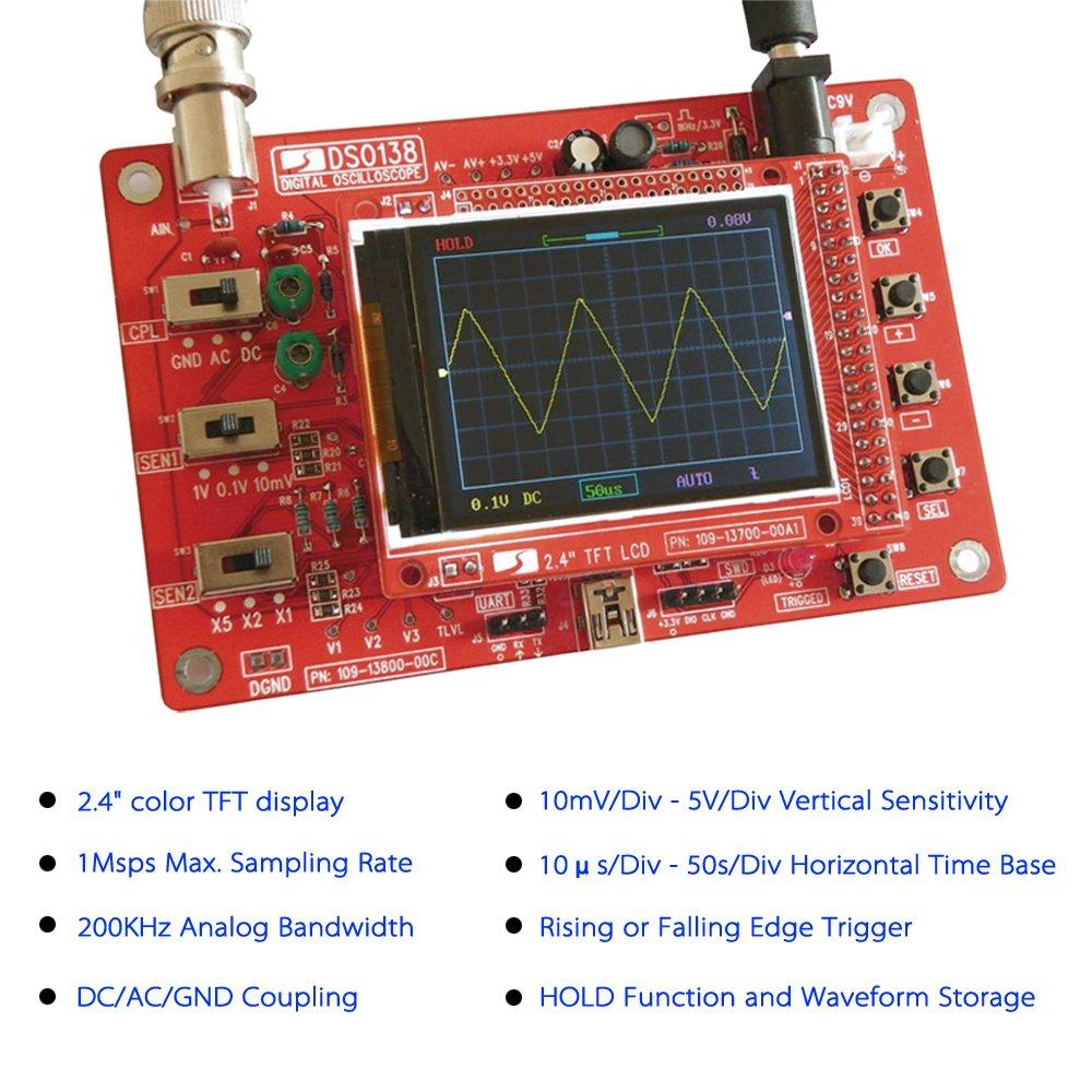 KKmoon SMD Kit de osciloscopio digital DSO138 + carcasa acr/ílica HTM 2,4 pulgadas, de bolsillo