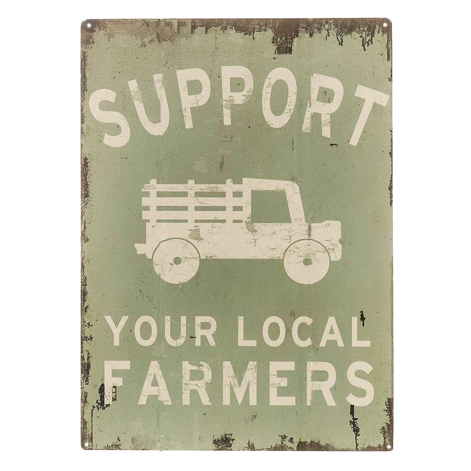 "SIGNT Support Your Local Farmers Funny Truck Coffee Cup Signs Retro Vintage Bar Metal Tin Sign Poster Style Wall Art Pub Bar Decor Size 8"" X 12"""