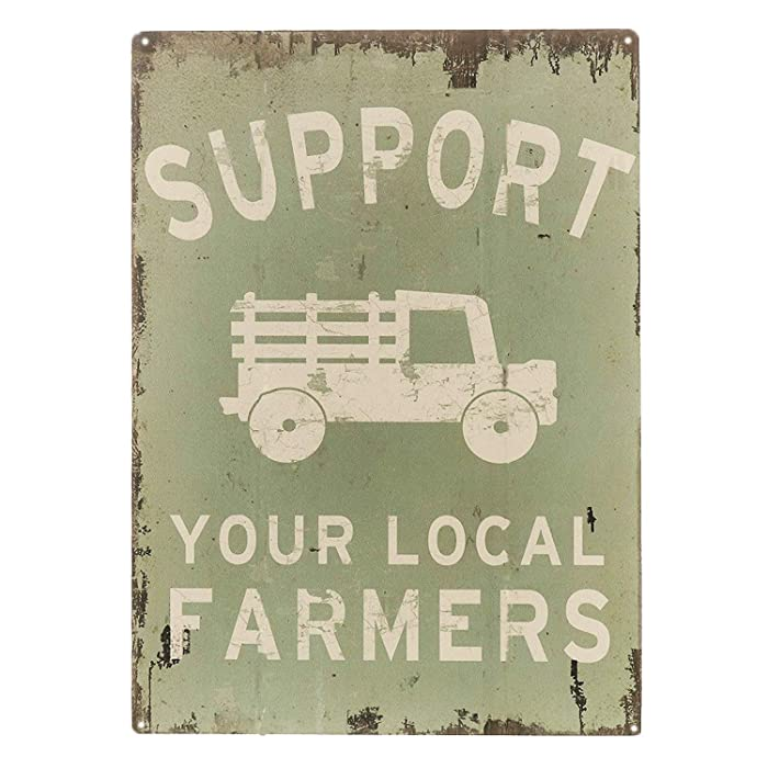 """SIGNT Support Your Local Farmers Funny Truck Coffee Cup Signs Retro Vintage Bar Metal Tin Sign Poster Style Wall Art Pub Bar Decor Size 8"""" X 12"""""""
