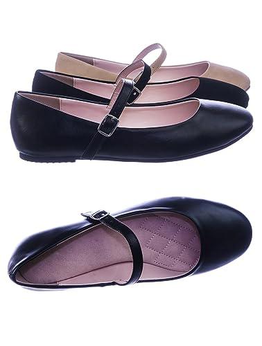 aae511606 Amazon.com   City Classified Comfort Women Comfortable Padded Mary-Jane  Round Toe Ballet Ballarina Flats   Flats