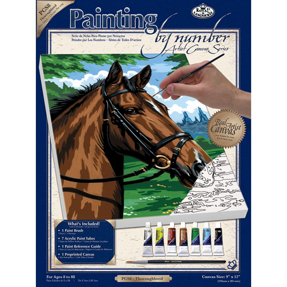 Royal & Langnickel Painting by Numbers Small Canvas Painting Set, Thoroughbred by Royal & Langnickel