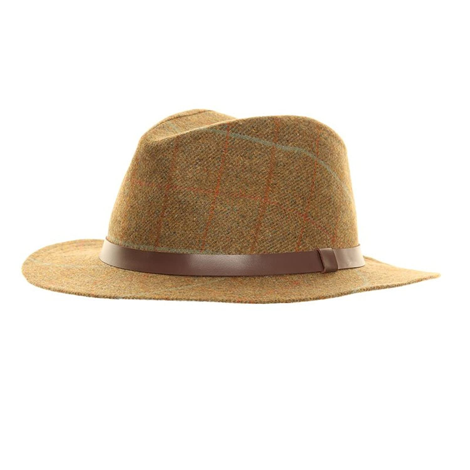 Unisex High Quality Teflon Covered Waterproof Tweed Felt Fedora Trilby Hat With 100% Wool