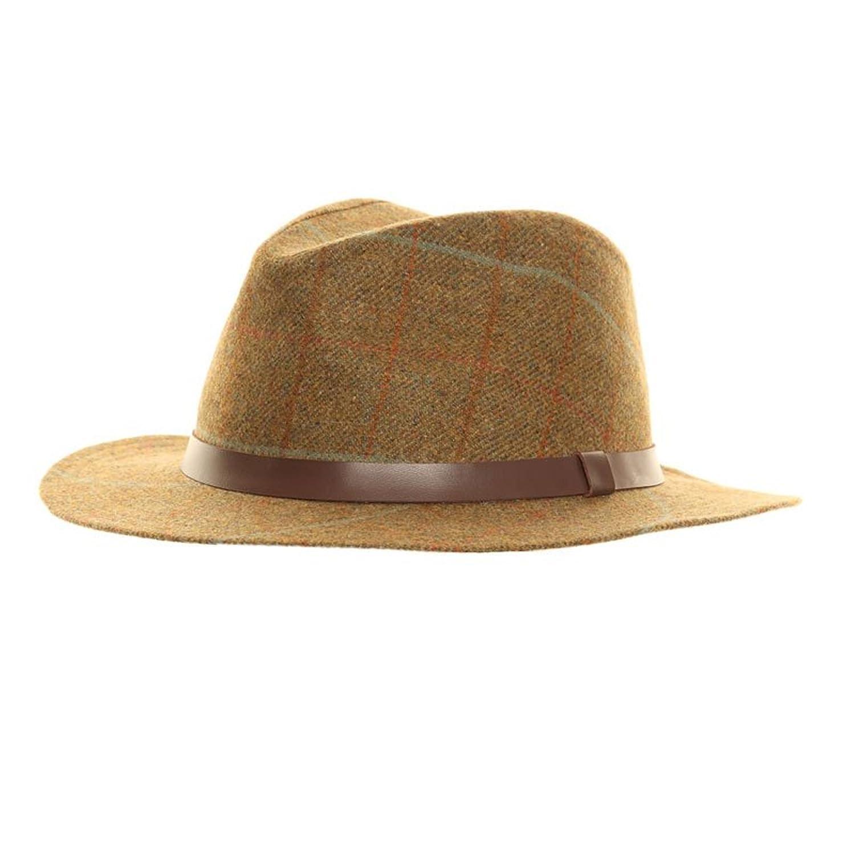 Unisex Teflon Covered Waterproof Tweed Felt Fedora Trilby Hat with 100/% Wool