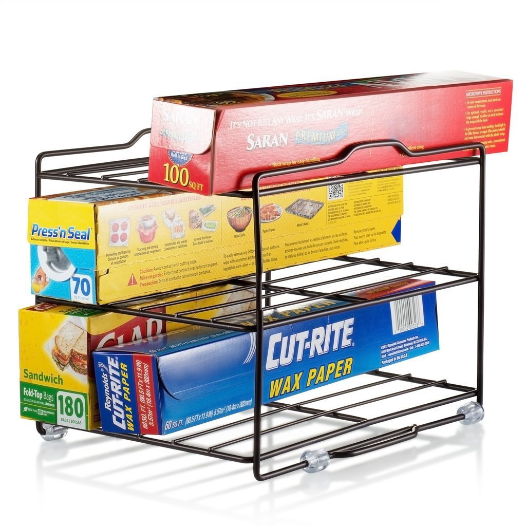 Kitchen Wrap Organizer Rack - Cabinet Organizer for Food Wrap and Foil - Pantry Organization for Parchment Paper and Plastic Food Bags