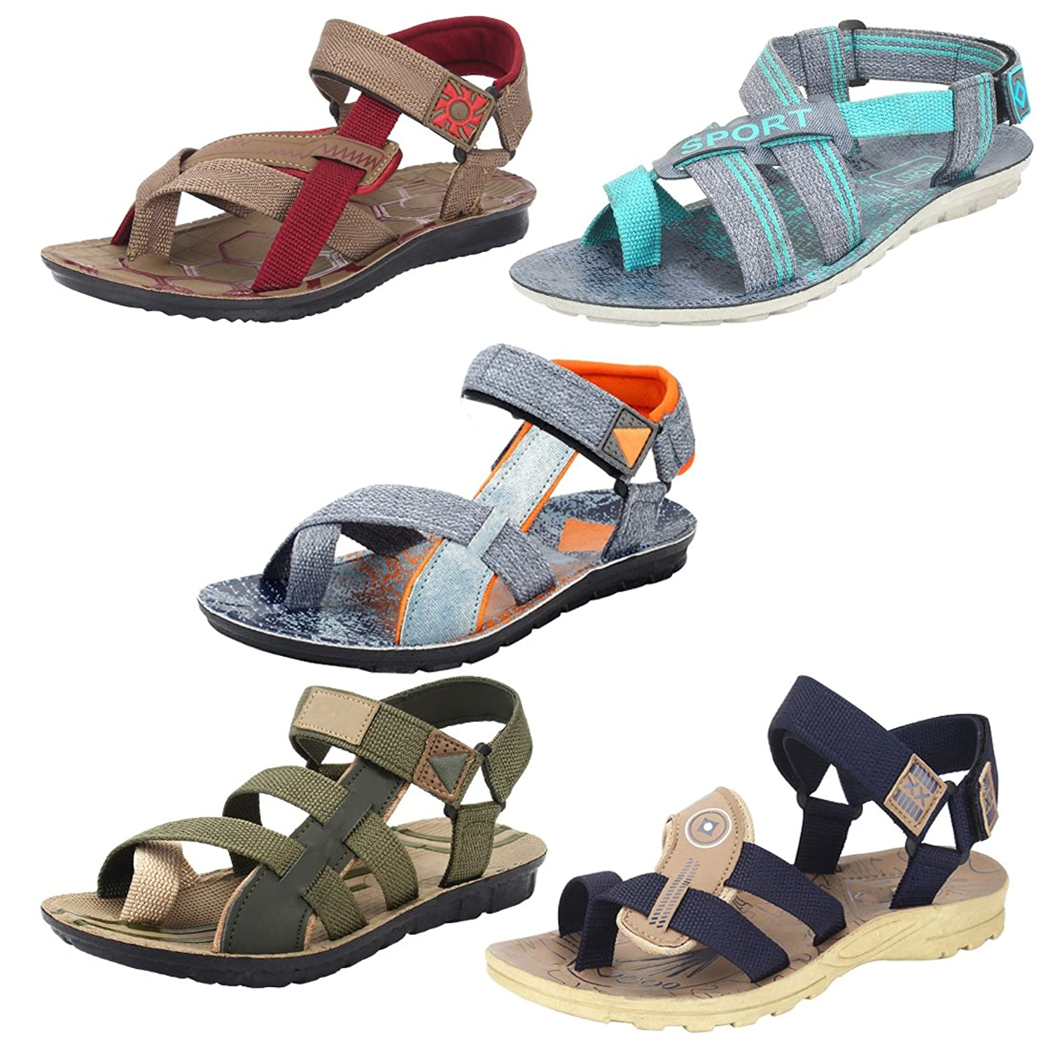 Oricum Men Combo Pack of 5 Sandals & Floaters  Size 7 Only Rs.397