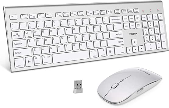 USB Receiver,with Ergonomic Wrist Rest,for Home Office Desktop Computer Laptop PC Color : Silver Windows Wireless Metal Keyboard and Mouse Set
