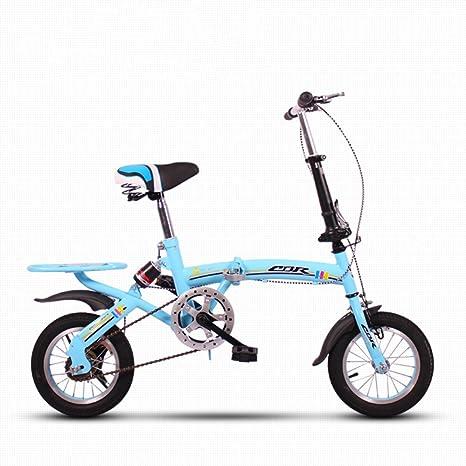 YEARLY Bicicleta Plegable Infantil, Bicicleta Plegable Estudiante Ligero Mini Portátil pequeño Amortiguador Hombre y Mujer Bicicleta Plegable-Azul 12inch: Amazon.es: Deportes y aire libre
