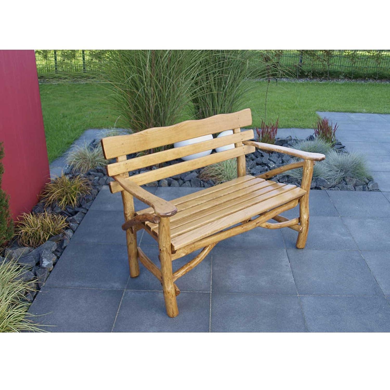 Gartenbank MOSEL 2 Sitzer, hochwertiges Eichen Rundholz (Knüppelholz)