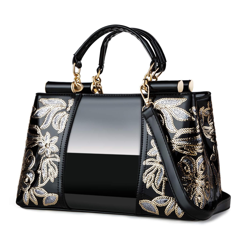 Nevenka Women Patent Leather Fashion Handbags (BLACK)