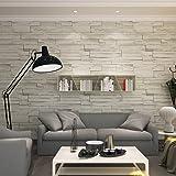 HANMERO® papel pintado imitación ladrillo, 3D diseño papel de pared pintado,color gris beige claro,0,53M*10M