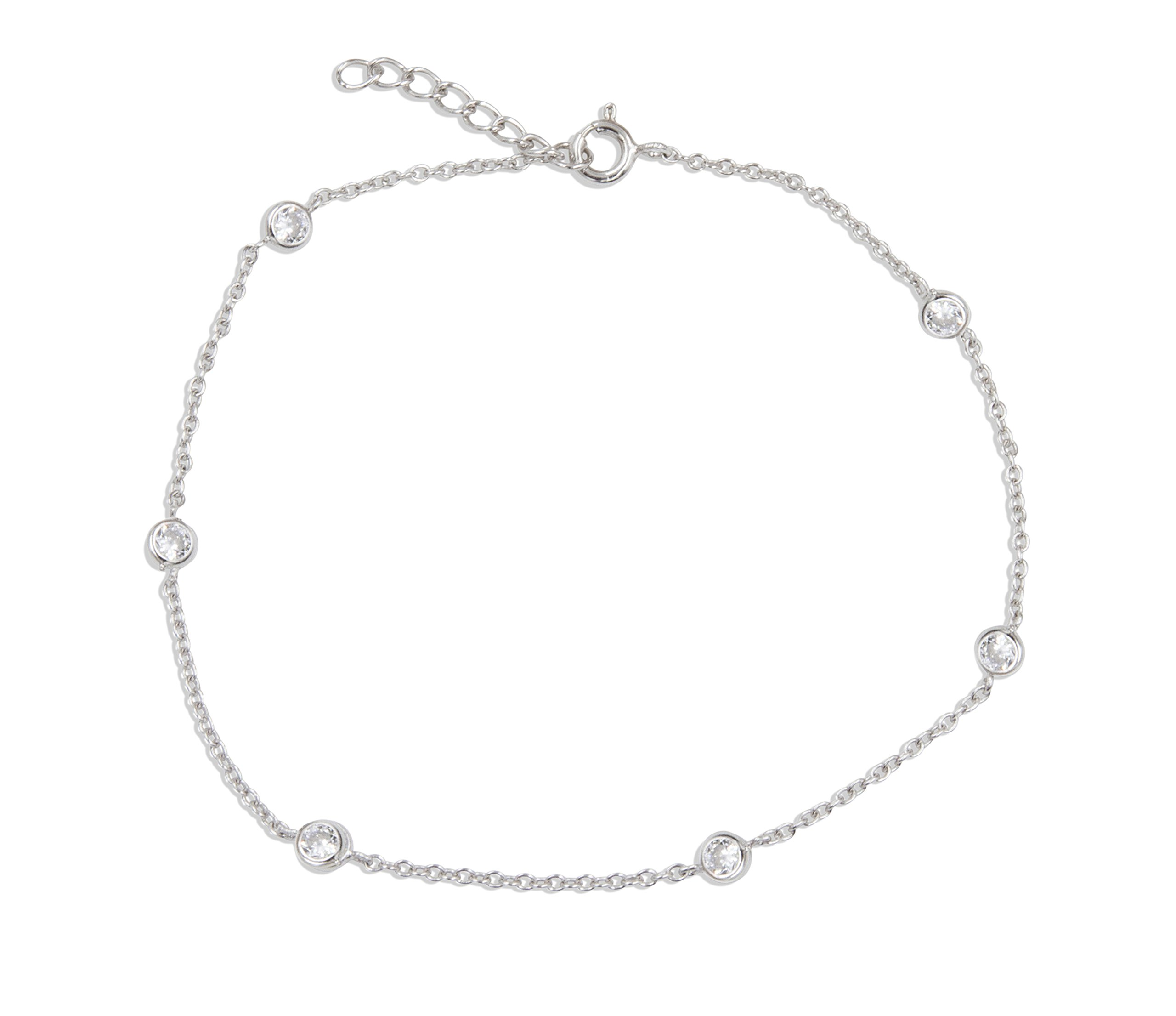 SilverLuxe Women's Sterling Silver Cubic Zirconia Station Anklet Bracelet 9'' with a 1'' extender