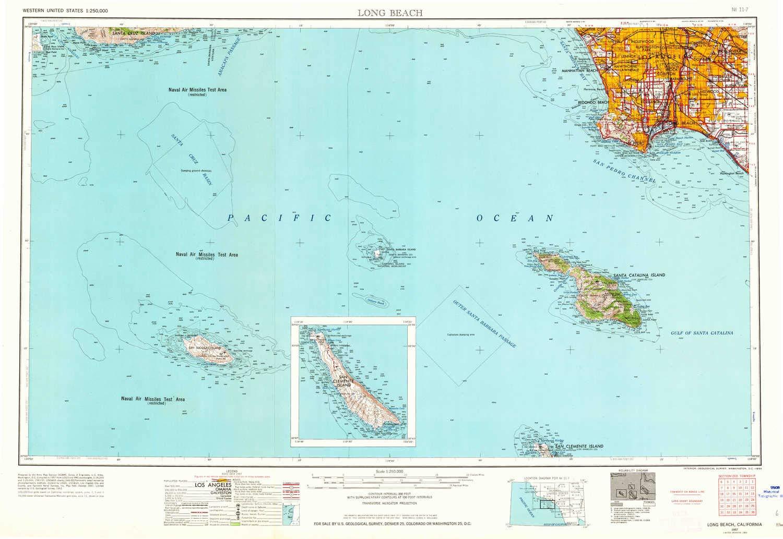 Amazon.com : YellowMaps Long Beach CA topo map, 1:250000 ...